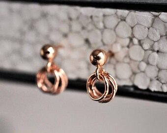 Rose gold coin earring. Rose gold disc earring, Rose gold dot earrings, Rose gold ring earring, rose gold cercle earring, rose gold hoop