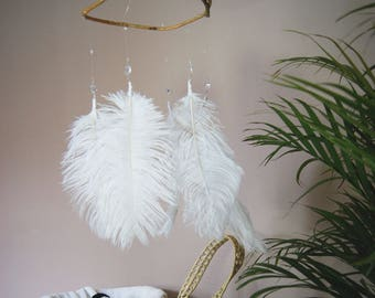 Branch & Ostrich Feather Mobile