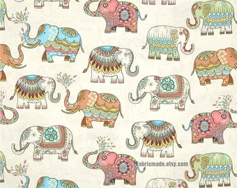 Elephant Cotton Fabric, Off White Cotton With Colorful Vintage Elephant - 1/2 yard
