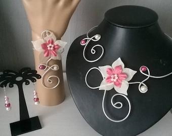 set bridal wedding jewelry 3 piece cream and pink silk flower Silver Aluminum wire set powder ceremonies holiday party