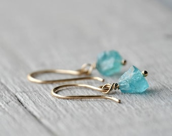 Gold Filled Dangle Earrings with Apatite raw beads
