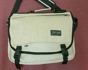 Courier Messenger Bag (Natural Field Hemp Canvas with Herringbone Accent)