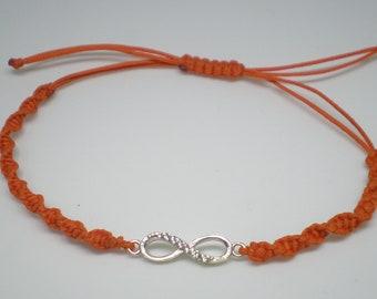Silver Internity Symbol, Bracelet with Orange Thread.