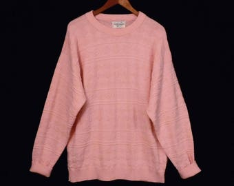 80's PINK boyfriend sweater // vintage baggy slouch sweater // by Christian Dior made in USA // size L XL