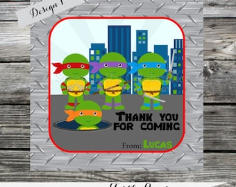 DIY Printable Favor Tags- Turtle Power -Gift Tags -Square Thank You Tags -School Treats -Stickers -Ninja turtles -Birthday