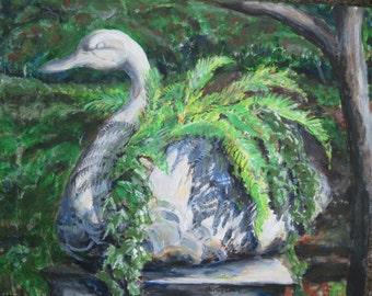 Fern art, Fern painting, Fern lovers gift, Swan shaped planter, Swan House Planter art, Fern planter print, Atlanta restaurant, Georgia art