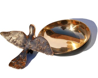 Handcrafted Cast Bronze Bowl with Bird