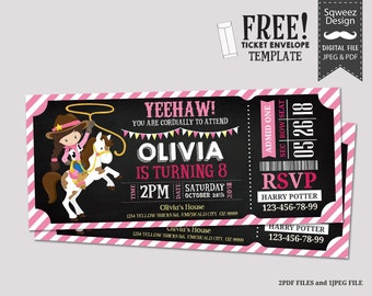 Cowgirl Birthday Invitation, Rustic Cowgirl Birthday Invite, Cowgirl Party Invite, Pink Cowgirl Invitation, Wild West Party - JPEG&PDF File