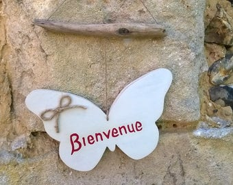 Welcome wooden Butterfly