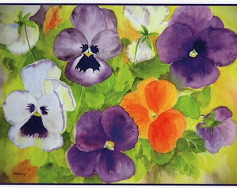 Four Pack of Watercolor Pansies.  All-Occasion Note Cards.  Watercolor Flower Card by StellaJaneCards.