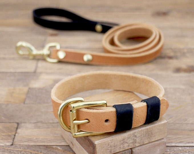 Collar and leash, Set, Whiskey, Raven, Colour,  Brass, FREE ID TAG, Handmade, Leather collar, Leather leash, Leather collar.