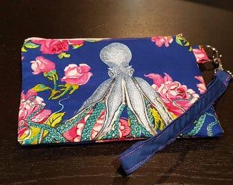 Octopus Floral Wristlet