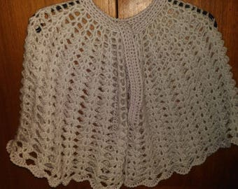 """made to order""""cape shawl crochet stitches fancy gray clear""""made to order"""""""