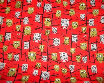 OOP Vintage style Owl print with Retro colors Owls on Red A Tammis Keefe Tribute From Michael Miller  cotton quilt fabric
