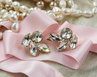 Swarovski Crystal Bridal Earrings, Bridal Earring - Stud - Crystal Stud Earrings- Rhinestone, Bridal Statement Earrings, Bridesmaid Earrings