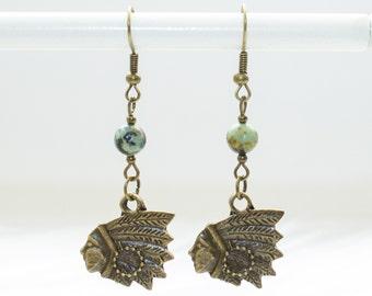 Chief Earrings, Dainty Native Drop Earrings, Nickel Free Earrings, Turquoise Boho Earrings, Festival Fashion, Natural Turquoise Jewelry