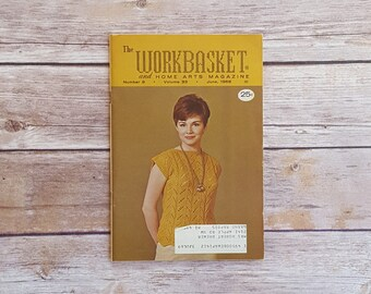 Child's Slipover Knit Various Retro Patterns Workbasket Mailed Magazine Knitting Projects Mustard Yellow Color 60s Fashion Magazine Ladies