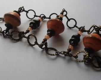 Paper Bead Bracelet, Antiqued Brass Bracelet, Beaded Bracelet