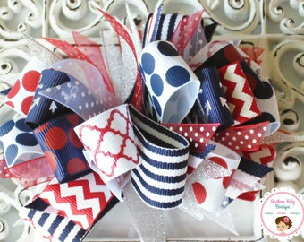 New Item---Over the Top Boutique Layered Hair Bow Clip----Loopyity Loops---Nautical Girl