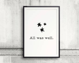All Was Well Poster, Pages Stars, Harry Potter Poster, Harry Potter Spell