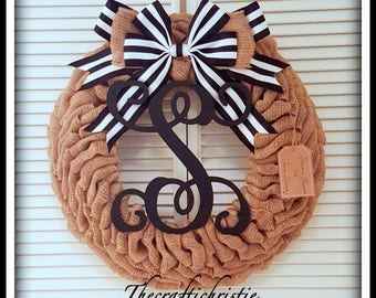 Monogrammed Wreath-Personalized Wedding Gift-Initial Wreath-Housewarming Gift-Burlap Wreath-Burlap Initial Wreath-Front Door Burlap Wreath