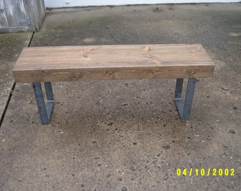 Industrial wood bench, furniture, tv stand, coffee table, dining table, wood furniture, mudroom bench, hallway bench, steel legs, metal legs