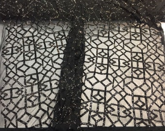 Black Geometric Sequins Embroider On A 2 Way stretch Mesh-prom-Sold By Yard.