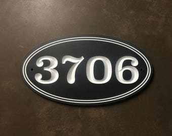 Oval Shaped Engraved House Number Sign