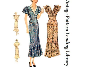 1935 Ladies Hooverette Day Dress - Reproduction Sewing Pattern #T1889