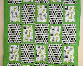 """Handmade Crib Size Quilt, Baby Dinos Green and Grey Quilt, 43"""" x 59"""""""