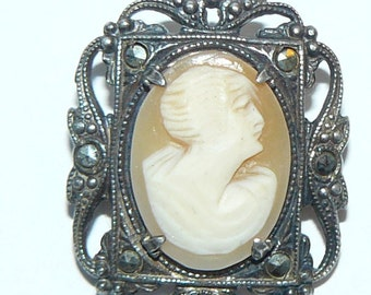 Antique Edwardian Shell Cameo Brooch