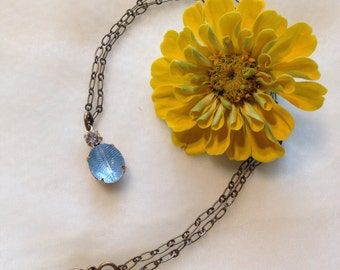 Vintage Feathered Pale Blue Glass Pendant with Diamond Rhinestone and Antiqued Brass Necklace