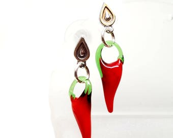 Red Hot Chilis Lamp Glass Chili Pepper Earrings on Sterling Silver Posts With Wide Secure Backs