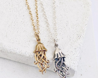 Jellyfish Nautical Charm Necklace, Dainty Necklace, Arielle, Mermaid, Gift for Sister, Gift for Wife, Gift for Friend, Gift for Daughter