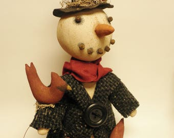 Primitive Snowman, Folk Art Dolls, Winter Decor, Primitive Snowmen Dolls