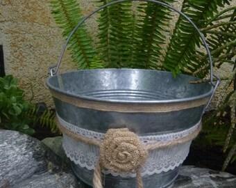 Country Burlape Flower Girl Basket
