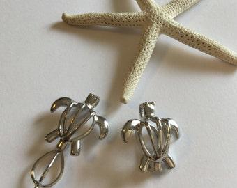 Turtle locket Pendant~ cage Pendant~ cage locket necklace~ pockets~ beach turtle~ add sea glass~ sea glass jewelry ~ beach glass jewelry