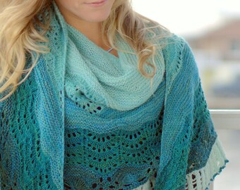 Endless Waves, A Large Crescent Shaped Shawl PDF knitting pattern
