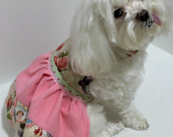 Dog Dress, Small Angels and Roses, beautiful pink and vintage victorian look fabrics, FUN Fashion dog clothes