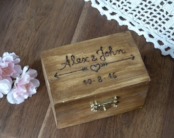 Wedding Ring Box, Rustic Ring Bearer Box, Wooden Personalized Ring Pillow Ring Box Custom Engraved Ring Box Ring Holder, Arrows and Heart