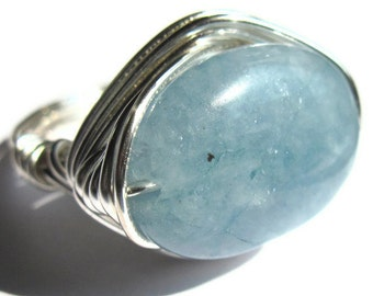 Aquamarine Wire Wrapped Ring Blue Stone Fashion Jewelry