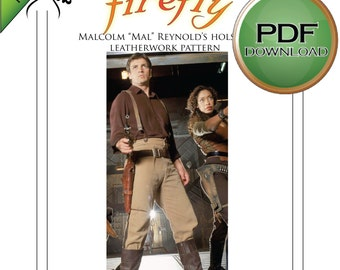 Firefly, Cosplay, Gun Holster pattern, PDF Download, Digital Download, Leather Work Pattern, Leathercraft, Malcolm Reynolds, Mal, Serenity