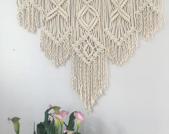 Large Geometric Macrame Wall Hanging / Large Boho Wall Hanging / Large Geometric Macrame Tapestry / Over Bed Wall Decor