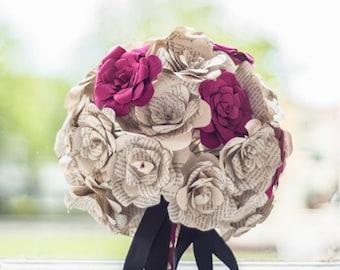 Customizable Paper Wedding bouquet, Alternative bouquet, Book page bouquet, Bridal bouquet, Wedding bouquet, Paper flowers