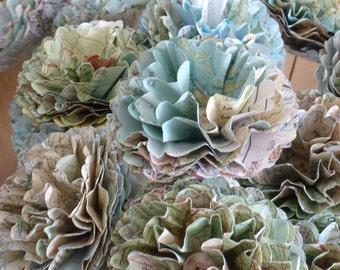 Map Paper Flowers ~ Set of 6 ~ Handmade