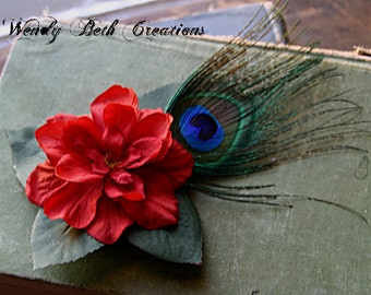 Simple Reddish Orange Gardenia Hair Clip Fascinator - ATS, Tribal, Belly Dance, Pin Up, Peacock Feather, Wedding, Fairy