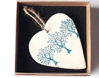 Blue Trees Hanging Heart, Wall decoration, Winter Wedding Gift
