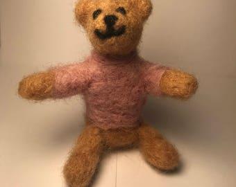 Needle felted wool teddy bear