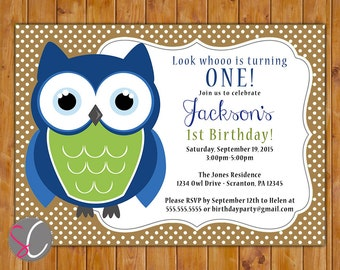 Owl Look Whoo's Turning One First Birthday Party Invite Navy Blue Green Polka Dot Owl Invite 2nd 3rd Printable 5x7 Digital JPG File (502)
