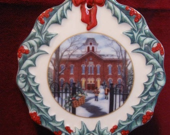 "Free Shipping! I0B LONGABERGER University Basket Collector's Club Vintage 1996 Porcelain HOMETOWN CHRISTMAS Ornament 3.5"" Decoration 1163"